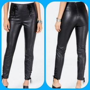 GUESS FAUX LEATHER PANTS, BLACK SKINNY HIGH RISE